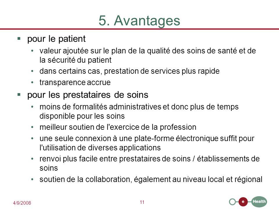 11 4/9/2008 5. Avantages  pour le patient valeur ajoutée sur le plan de la qualité des soins de santé et de la sécurité du patient dans certains cas,