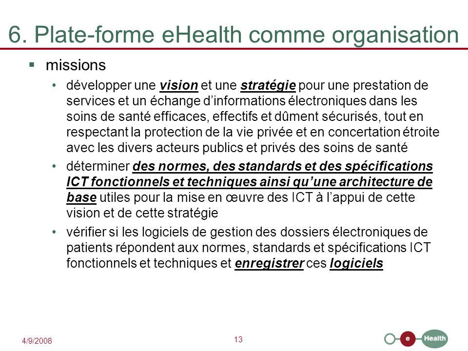 13 4/9/2008 6. Plate-forme eHealth comme organisation  missions développer une vision et une stratégie pour une prestation de services et un échange