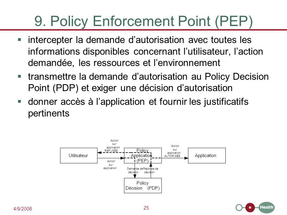 25 4/9/2008 9. Policy Enforcement Point (PEP)  intercepter la demande d'autorisation avec toutes les informations disponibles concernant l'utilisateu