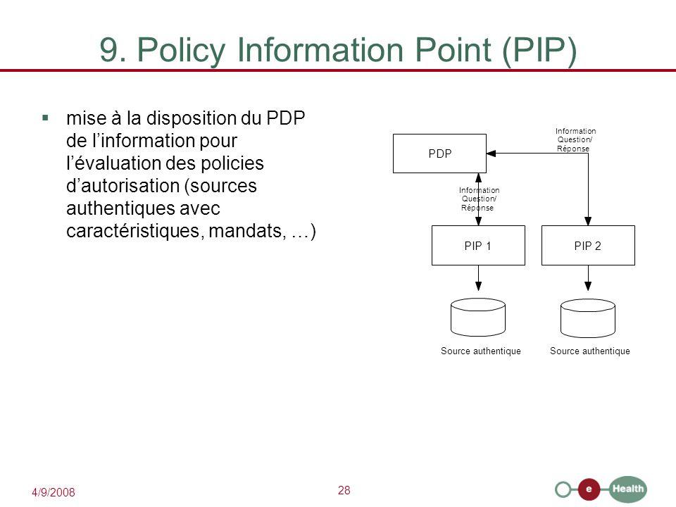 28 4/9/2008 9. Policy Information Point (PIP)  mise à la disposition du PDP de l'information pour l'évaluation des policies d'autorisation (sources a