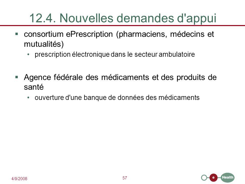 57 4/9/2008 12.4. Nouvelles demandes d'appui  consortium ePrescription (pharmaciens, médecins et mutualités) prescription électronique dans le secteu