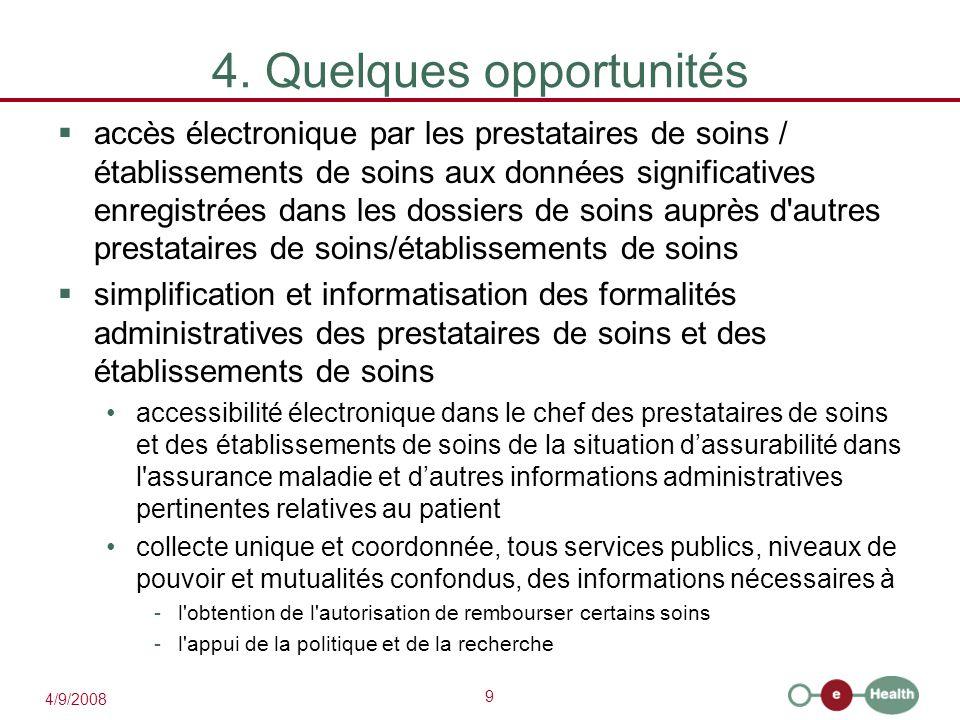 9 4/9/2008 4. Quelques opportunités  accès électronique par les prestataires de soins / établissements de soins aux données significatives enregistré