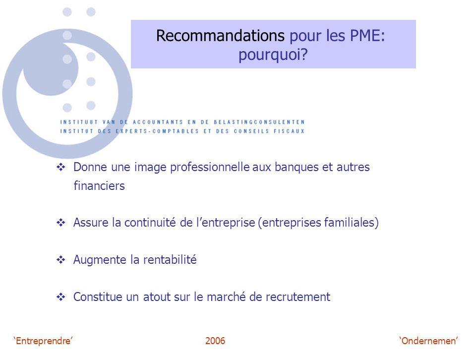 'Entreprendre'2006 'Ondernemen' Recommandations pour les PME: pourquoi?  Donne une image professionnelle aux banques et autres financiers  Assure la
