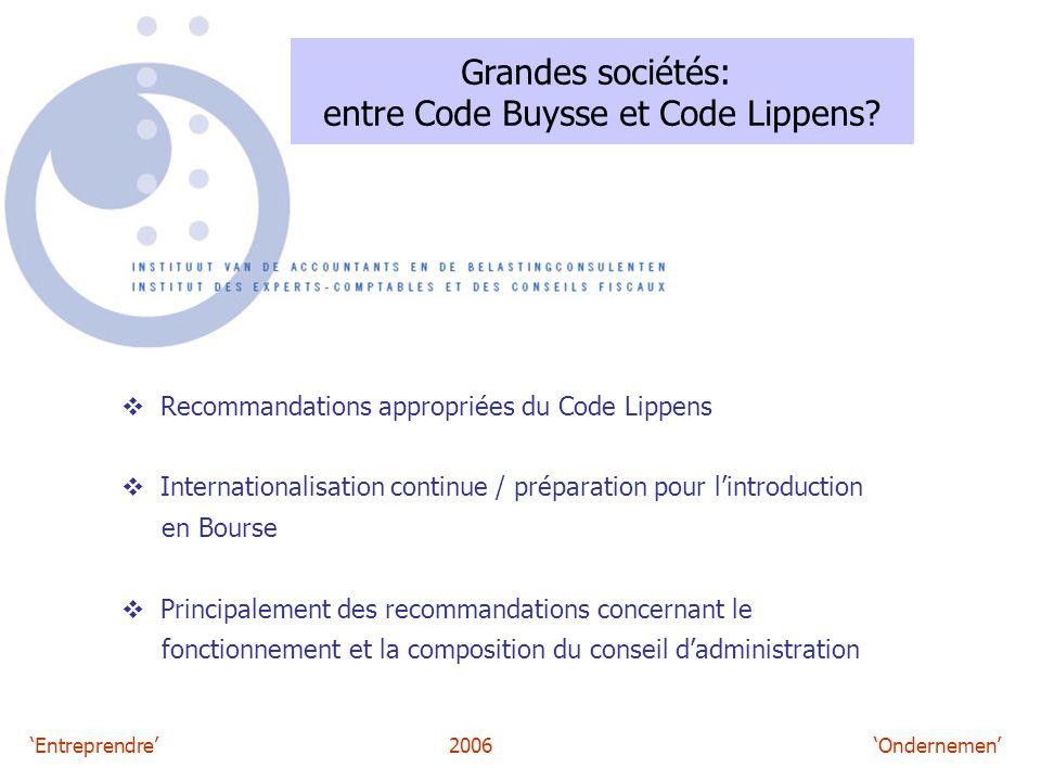 'Entreprendre'2006 'Ondernemen' Grandes sociétés: entre Code Buysse et Code Lippens?  Recommandations appropriées du Code Lippens  Internationalisat