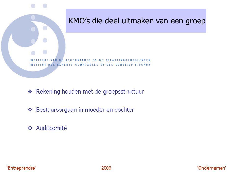 'Entreprendre'2006 'Ondernemen' KMO's die deel uitmaken van een groep  Rekening houden met de groepsstructuur  Bestuursorgaan in moeder en dochter  Auditcomité