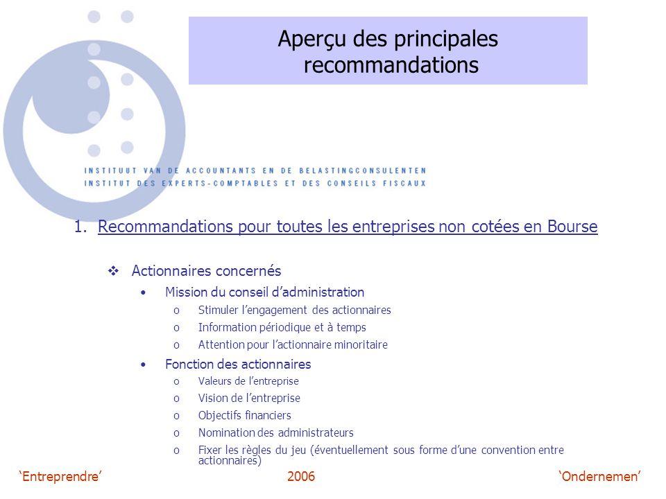 'Entreprendre'2006 'Ondernemen' Aperçu des principales recommandations 1. Recommandations pour toutes les entreprises non cotées en Bourse  Actionnai