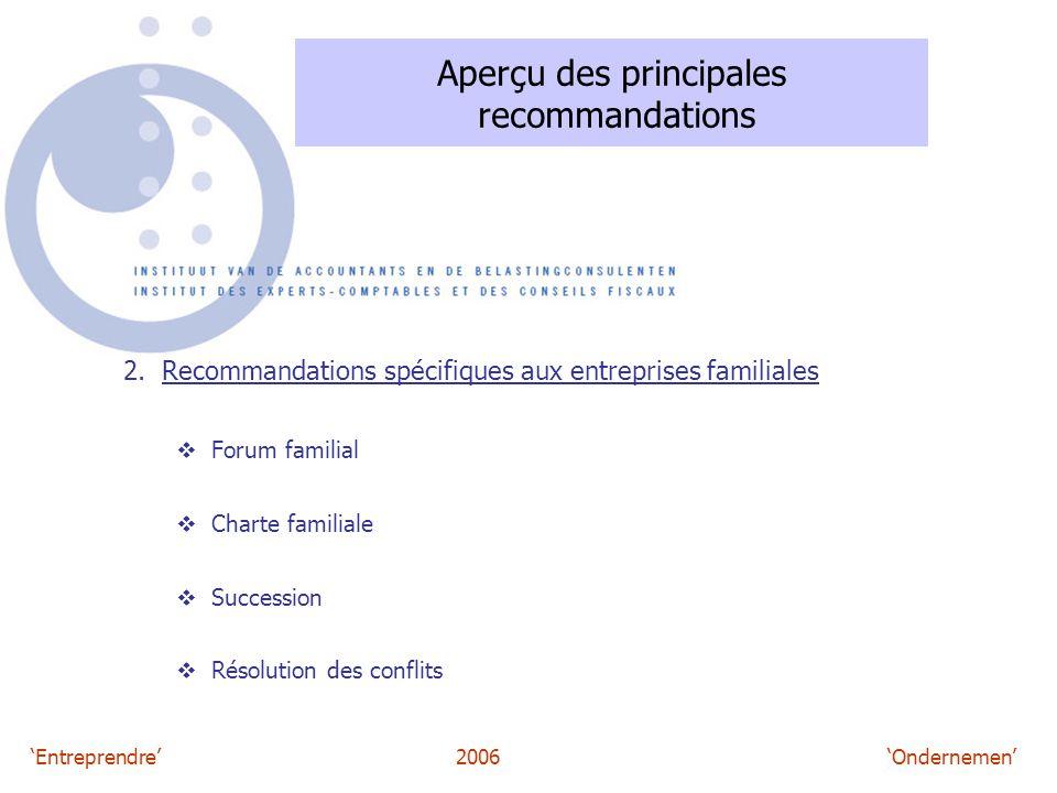 'Entreprendre'2006 'Ondernemen' Aperçu des principales recommandations 2. Recommandations spécifiques aux entreprises familiales  Forum familial  Ch