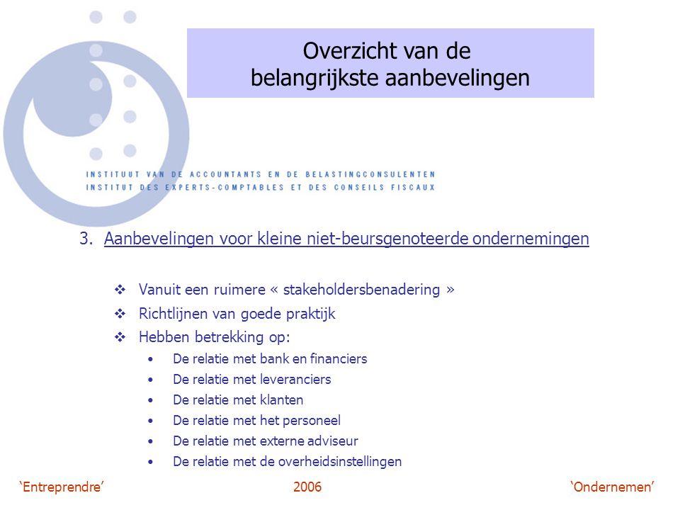 'Entreprendre'2006 'Ondernemen' Overzicht van de belangrijkste aanbevelingen 3. Aanbevelingen voor kleine niet-beursgenoteerde ondernemingen  Vanuit