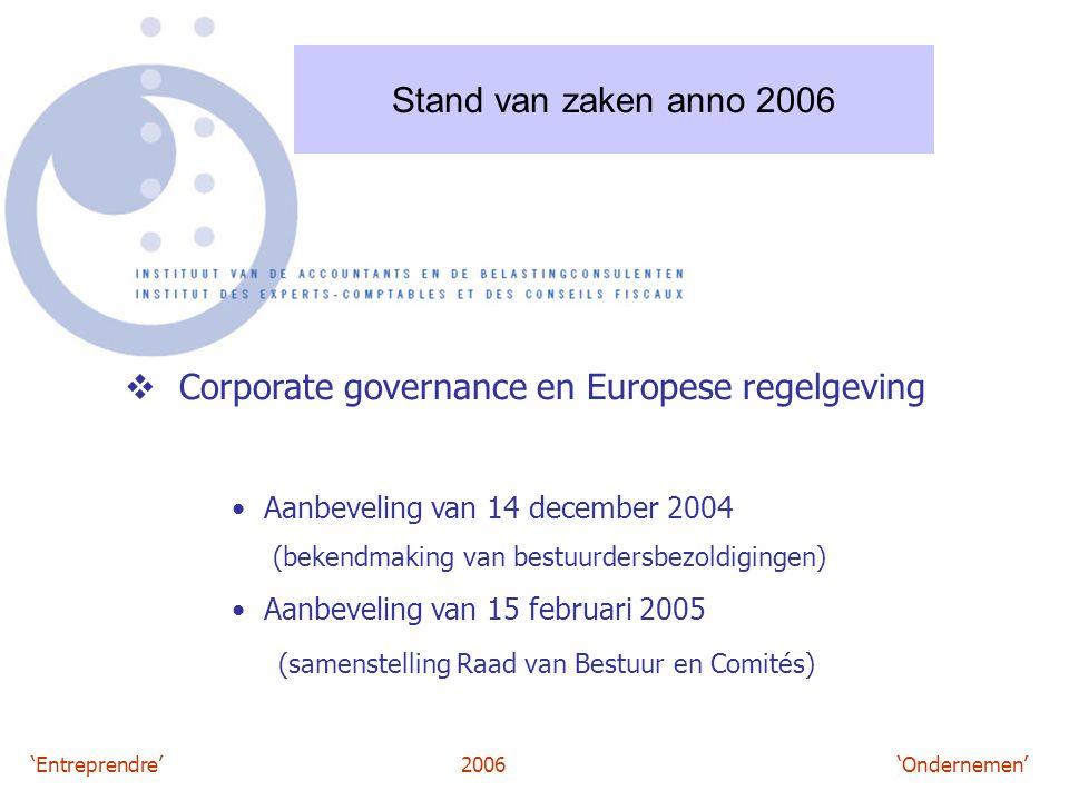'Entreprendre'2006 'Ondernemen' Stand van zaken anno 2006  Corporate governance en Europese regelgeving Aanbeveling van 14 december 2004 (bekendmaking van bestuurdersbezoldigingen) Aanbeveling van 15 februari 2005 (samenstelling Raad van Bestuur en Comités)
