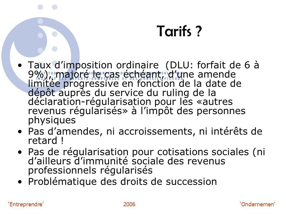 'Entreprendre'2006 'Ondernemen' Tarifs .