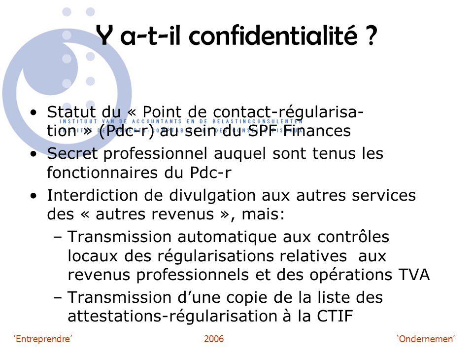 'Entreprendre'2006 'Ondernemen' Y a-t-il confidentialité .