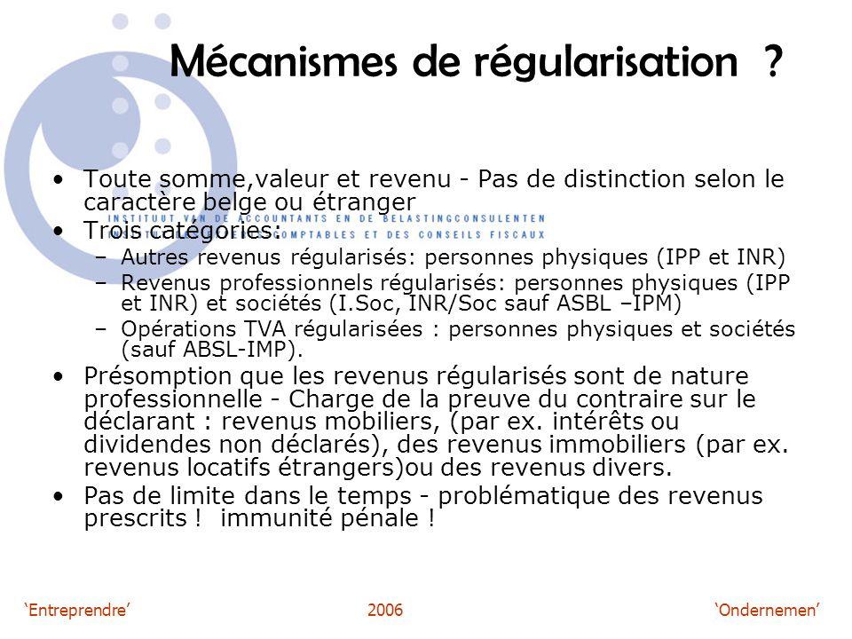 'Entreprendre'2006 'Ondernemen' Mécanismes de régularisation .