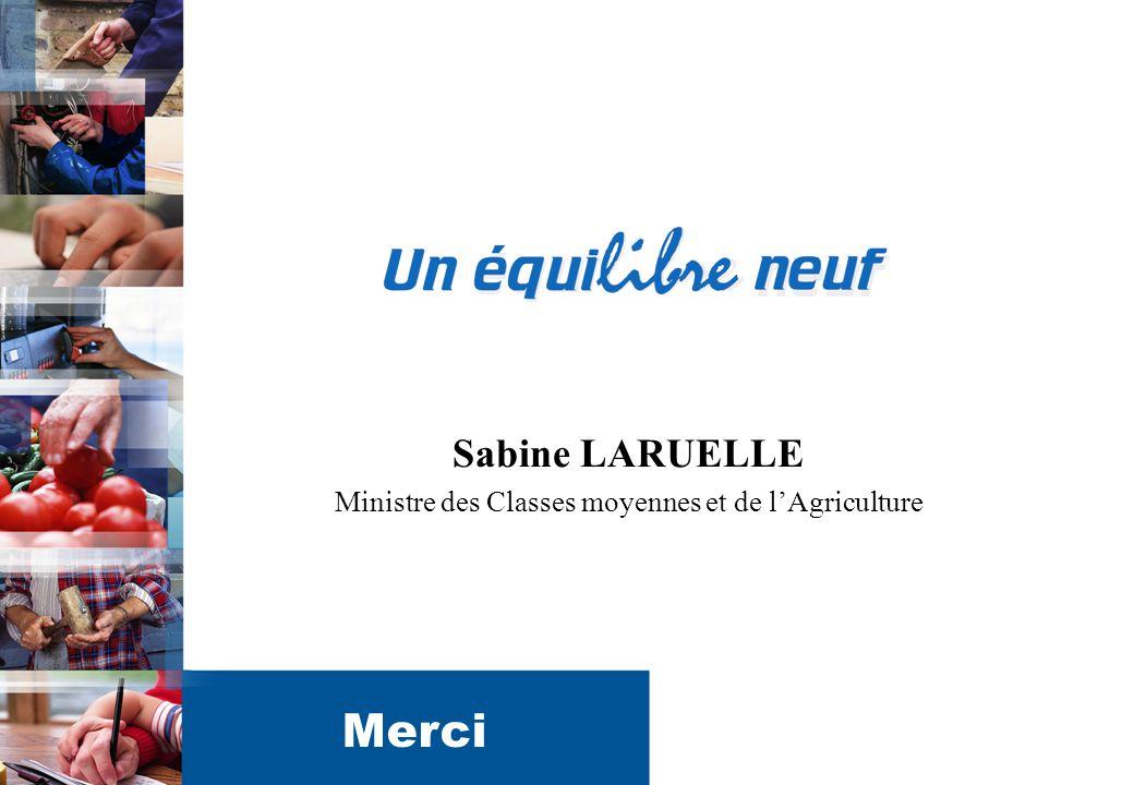 11 Sabine LARUELLE Ministre des Classes moyennes et de l'Agriculture Merci
