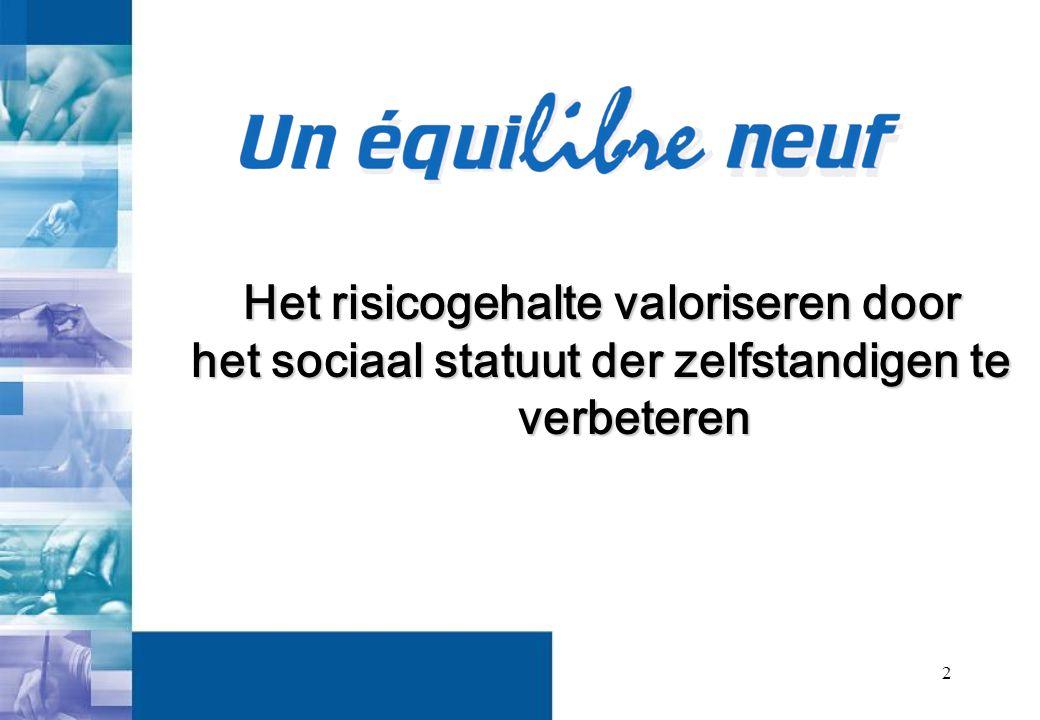 2 Het risicogehalte valoriseren door het sociaal statuut der zelfstandigen te verbeteren
