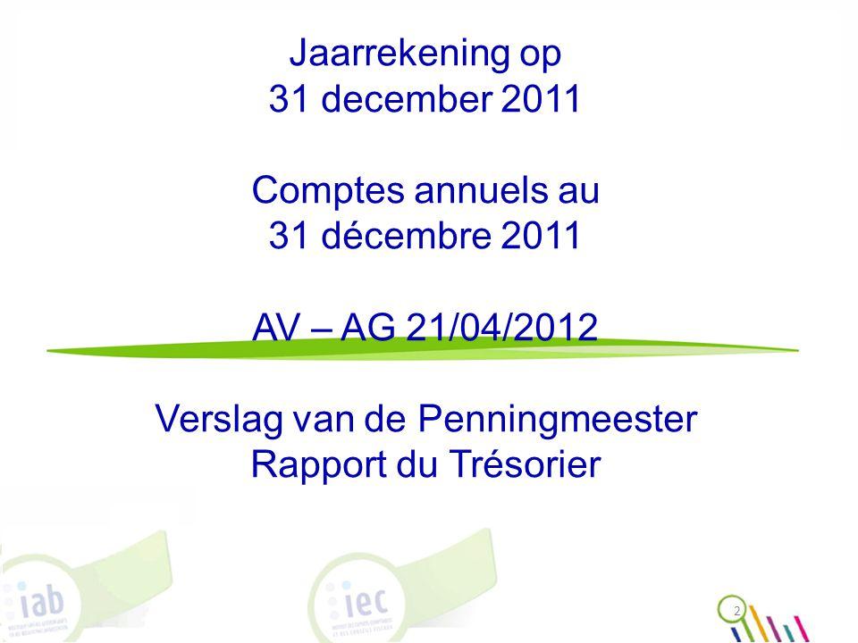 Jaarrekening op 31 december 2011 Comptes annuels au 31 décembre 2011 AV – AG 21/04/2012 Verslag van de Penningmeester Rapport du Trésorier 2