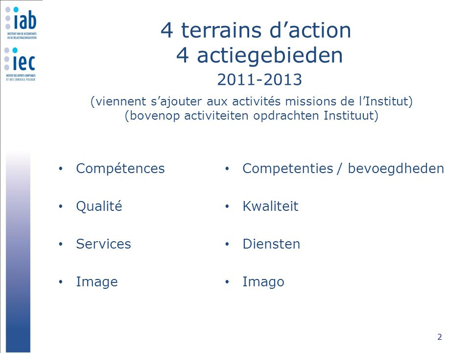 Compétences : priorités stratégiques Competenties/bevoegdheden: strategische prioriteiten Parcours professionnel 3 Professionele loopbaan