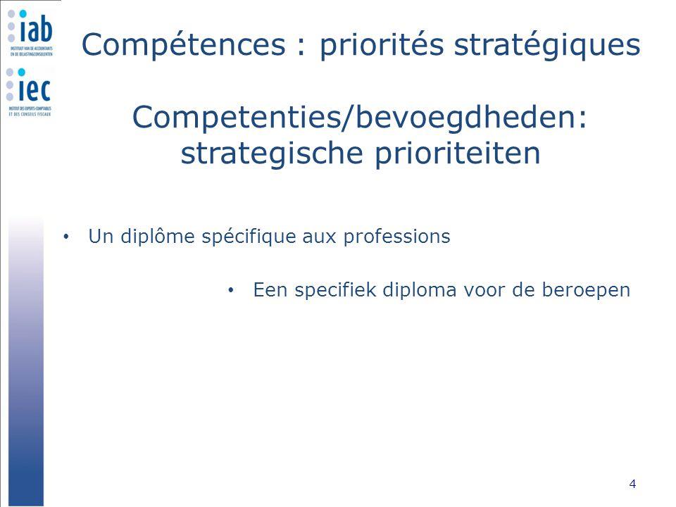 Compétences : priorités stratégiques Competenties/bevoegdheden: strategische prioriteiten Un diplôme spécifique aux professions 4 Een specifiek diploma voor de beroepen