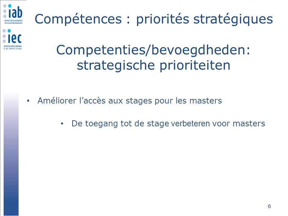 Compétences : priorités stratégiques Competenties/bevoegdheden: strategische prioriteiten Améliorer l'accès aux stages pour les masters 6 De toegang t