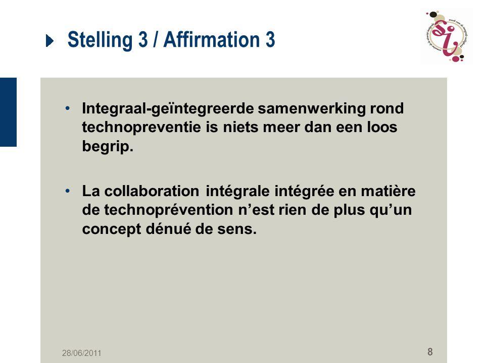 28/06/2011 8 Stelling 3 / Affirmation 3 Integraal-geïntegreerde samenwerking rond technopreventie is niets meer dan een loos begrip.