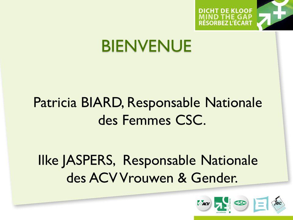 BIENVENUE Patricia BIARD, Responsable Nationale des Femmes CSC. Ilke JASPERS, Responsable Nationale des ACV Vrouwen & Gender.