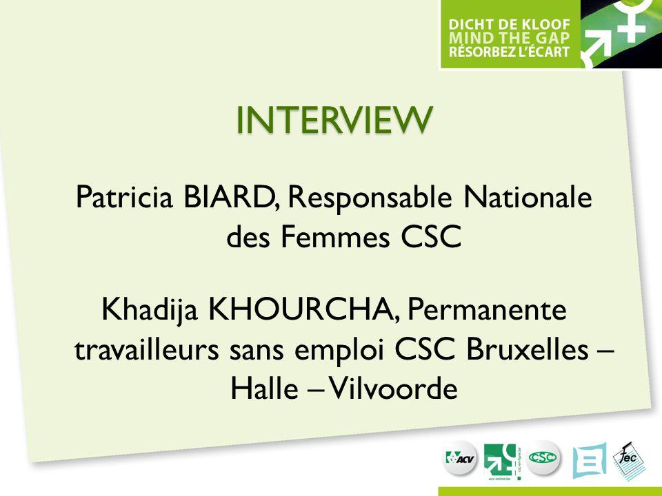 INTERVIEW Patricia BIARD, Responsable Nationale des Femmes CSC Khadija KHOURCHA, Permanente travailleurs sans emploi CSC Bruxelles – Halle – Vilvoorde