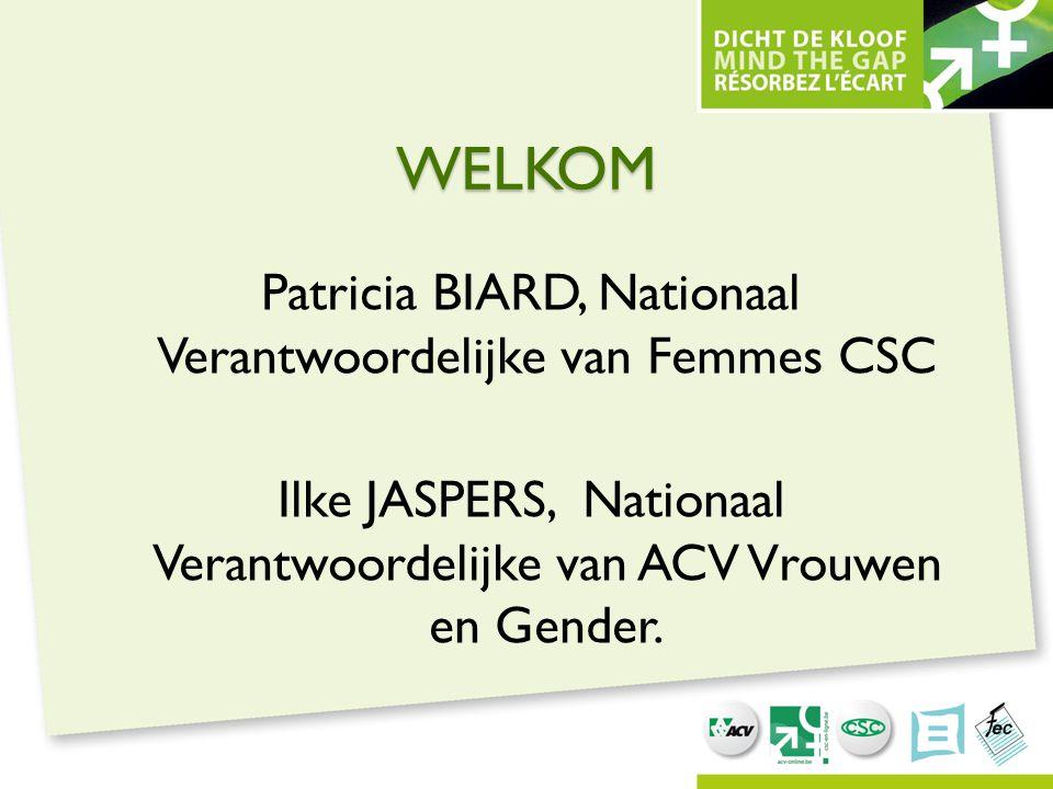 WELKOM Patricia BIARD, Nationaal Verantwoordelijke van Femmes CSC Ilke JASPERS, Nationaal Verantwoordelijke van ACV Vrouwen en Gender.