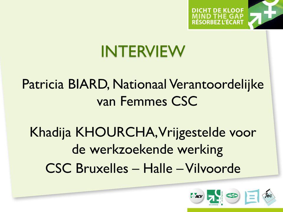 INTERVIEW Patricia BIARD, Nationaal Verantoordelijke van Femmes CSC Khadija KHOURCHA, Vrijgestelde voor de werkzoekende werking CSC Bruxelles – Halle