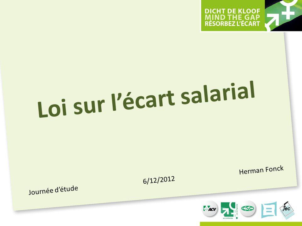 Journée d'étude 6/12/2012 Herman Fonck Loi sur l'écart salarial