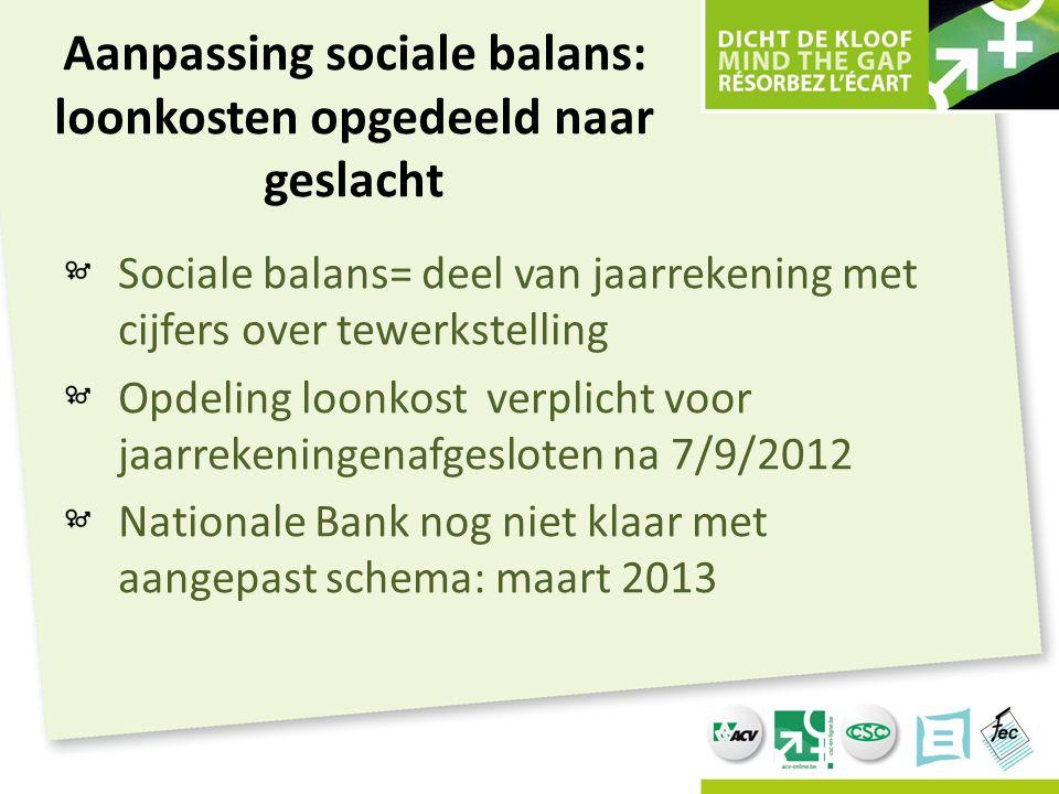 Aanpassing sociale balans: loonkosten opgedeeld naar geslacht Sociale balans= deel van jaarrekening met cijfers over tewerkstelling Opdeling loonkost