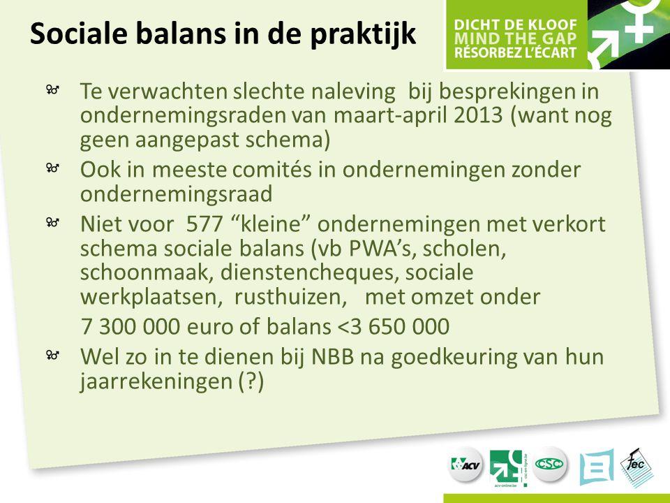 Sociale balans in de praktijk Te verwachten slechte naleving bij besprekingen in ondernemingsraden van maart-april 2013 (want nog geen aangepast schem