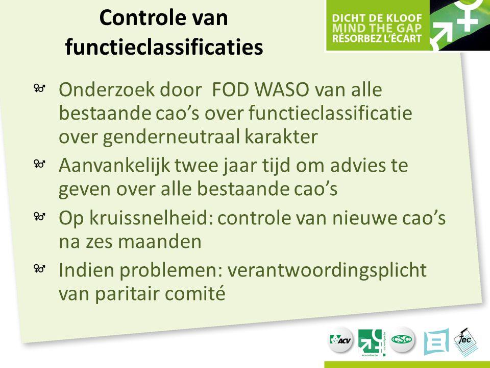 Controle van functieclassificaties Onderzoek door FOD WASO van alle bestaande cao's over functieclassificatie over genderneutraal karakter Aanvankelij