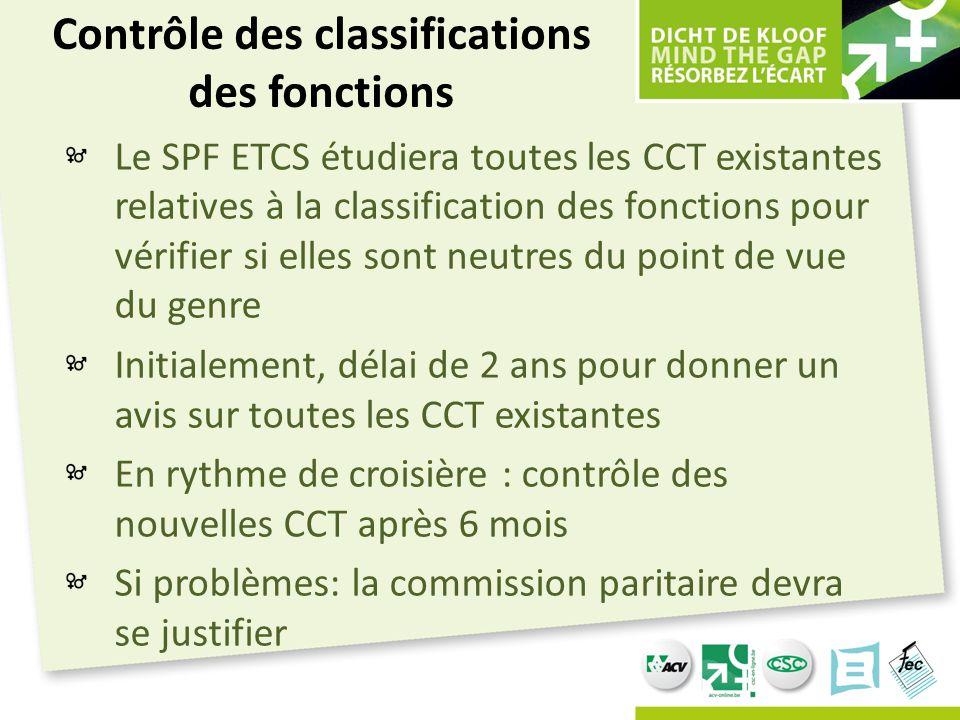 Contrôle des classifications des fonctions Le SPF ETCS étudiera toutes les CCT existantes relatives à la classification des fonctions pour vérifier si