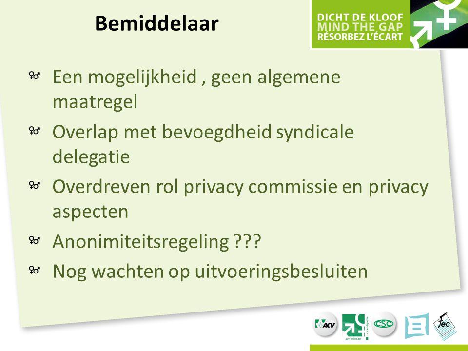 Bemiddelaar Een mogelijkheid, geen algemene maatregel Overlap met bevoegdheid syndicale delegatie Overdreven rol privacy commissie en privacy aspecten