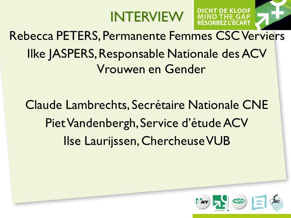 INTERVIEW Rebecca PETERS, Permanente Femmes CSC Verviers Ilke JASPERS, Responsable Nationale des ACV Vrouwen en Gender Claude Lambrechts, Secrétaire N