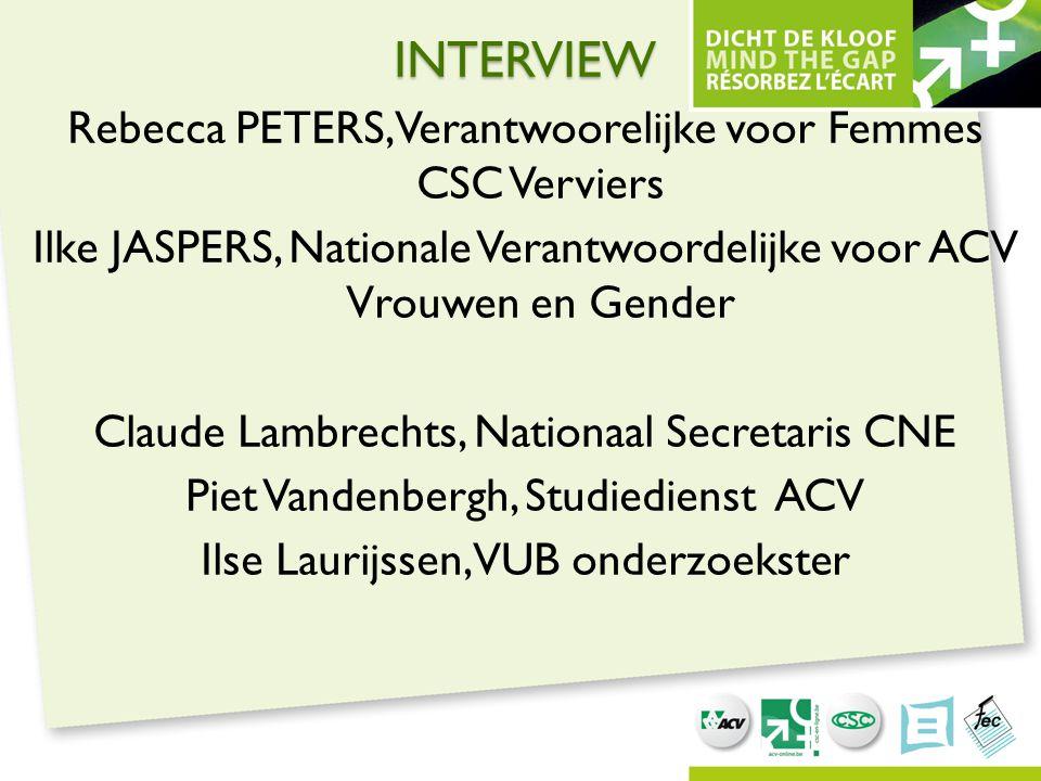 INTERVIEW Rebecca PETERS, Verantwoorelijke voor Femmes CSC Verviers Ilke JASPERS, Nationale Verantwoordelijke voor ACV Vrouwen en Gender Claude Lambre