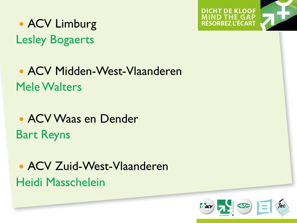 ACV Limburg Lesley Bogaerts ACV Midden-West-Vlaanderen Mele Walters ACV Waas en Dender Bart Reyns ACV Zuid-West-Vlaanderen Heidi Masschelein