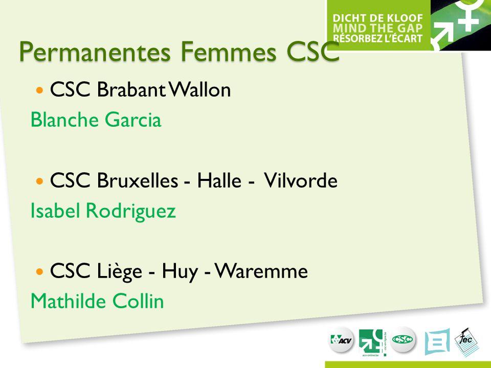 Permanentes Femmes CSC CSC Brabant Wallon Blanche Garcia CSC Bruxelles - Halle - Vilvorde Isabel Rodriguez CSC Liège - Huy - Waremme Mathilde Collin