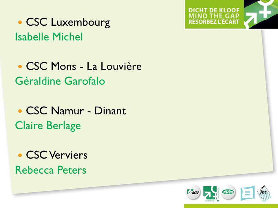 CSC Luxembourg Isabelle Michel CSC Mons - La Louvière Géraldine Garofalo CSC Namur - Dinant Claire Berlage CSC Verviers Rebecca Peters