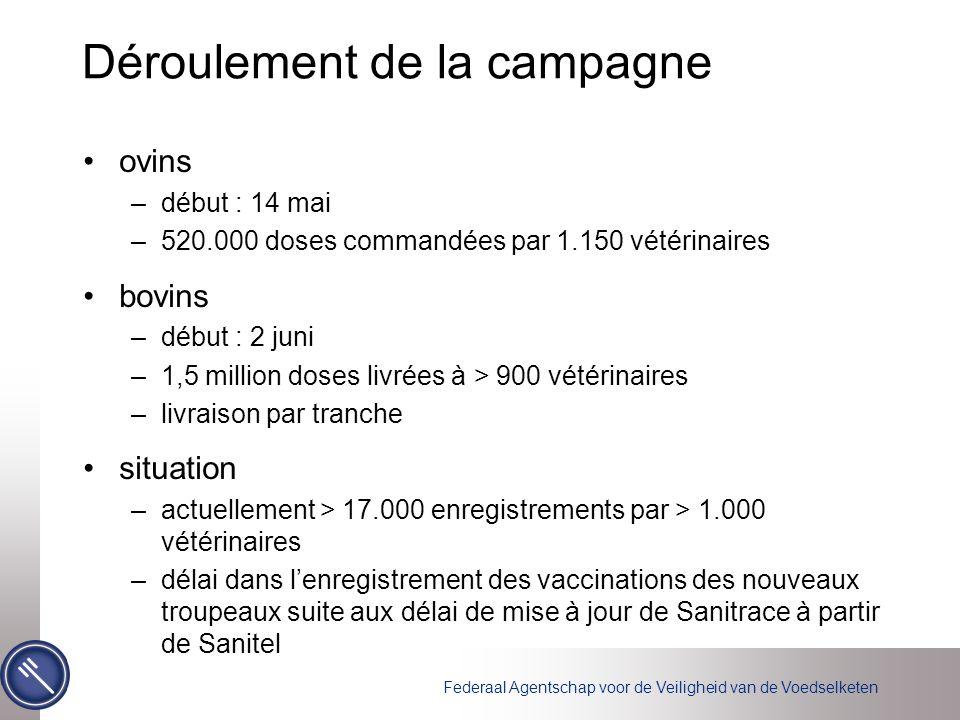 Federaal Agentschap voor de Veiligheid van de Voedselketen Déroulement de la campagne ovins –début : 14 mai –520.000 doses commandées par 1.150 vétéri