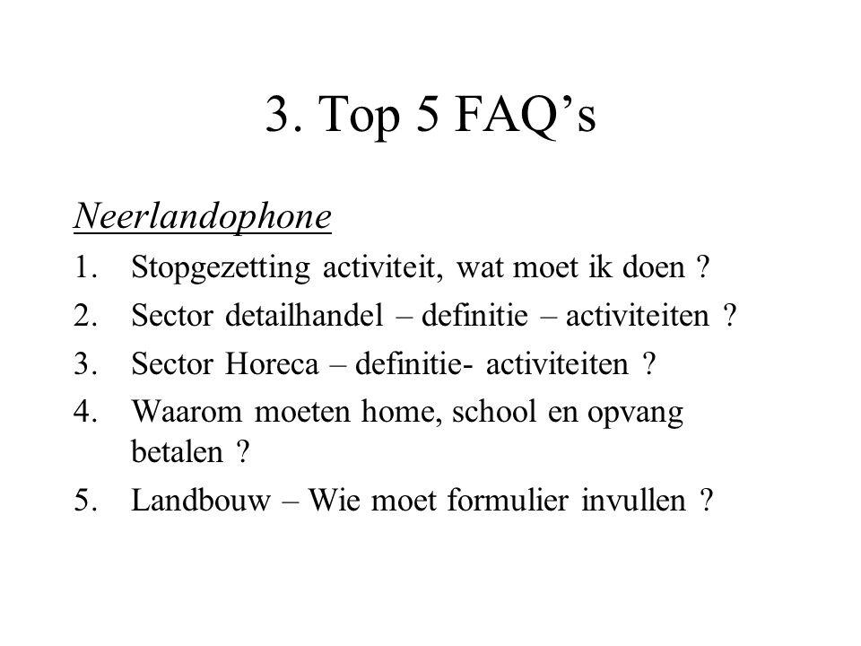 3. Top 5 FAQ's Neerlandophone 1.Stopgezetting activiteit, wat moet ik doen .
