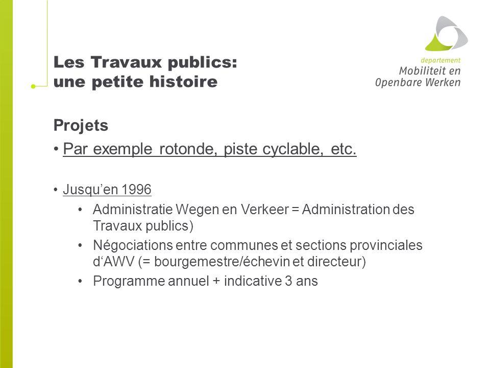 Les Travaux publics: une petite histoire Projets Par exemple rotonde, piste cyclable, etc.