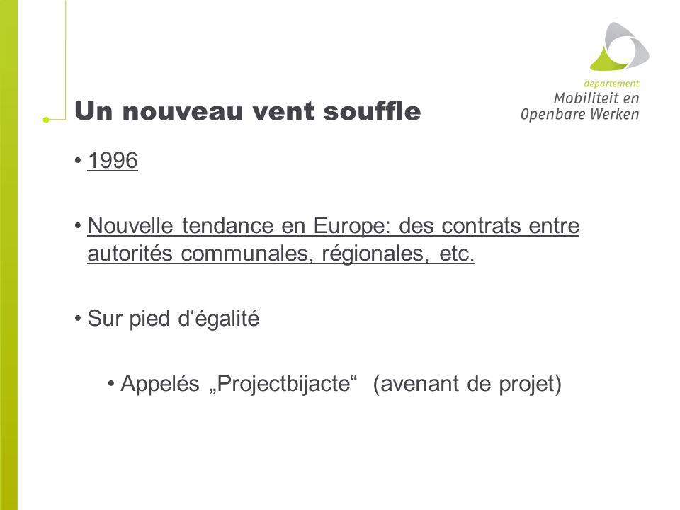 Un nouveau vent souffle 1996 Nouvelle tendance en Europe: des contrats entre autorités communales, régionales, etc.