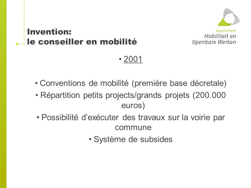 Invention: le conseiller en mobilité 2001 Conventions de mobilité (première base décretale) Répartition petits projects/grands projets (200.000 euros) Possibilité d'exécuter des travaux sur la voirie par commune Système de subsides
