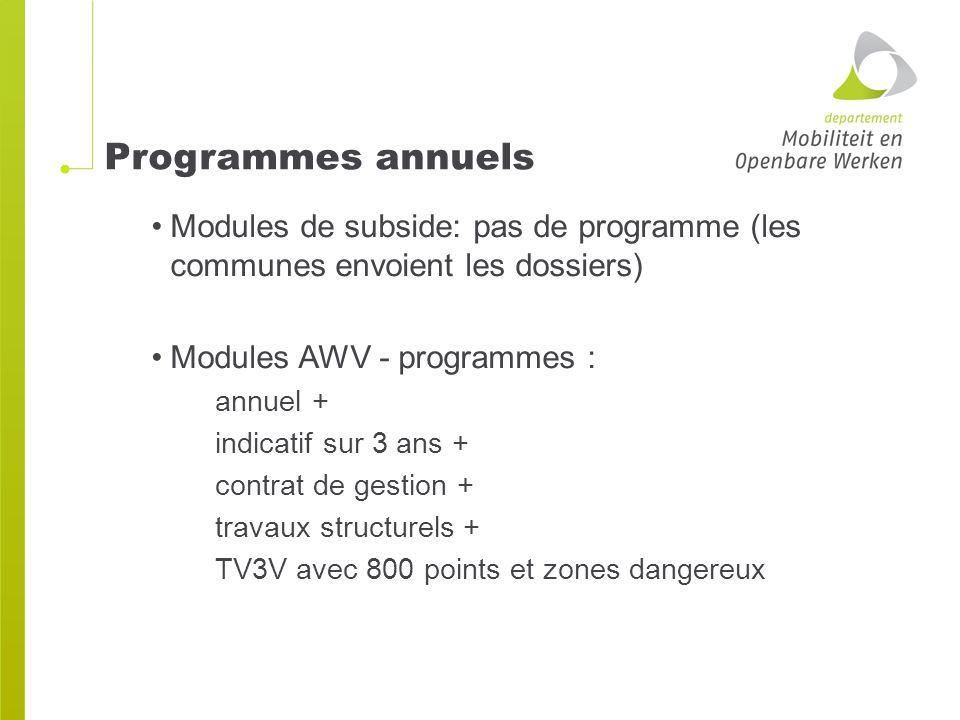 Programmes annuels Modules de subside: pas de programme (les communes envoient les dossiers) Modules AWV - programmes : annuel + indicatif sur 3 ans + contrat de gestion + travaux structurels + TV3V avec 800 points et zones dangereux