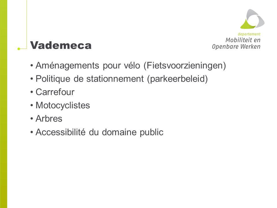 Vademeca Aménagements pour vélo (Fietsvoorzieningen) Politique de stationnement (parkeerbeleid) Carrefour Motocyclistes Arbres Accessibilité du domaine public