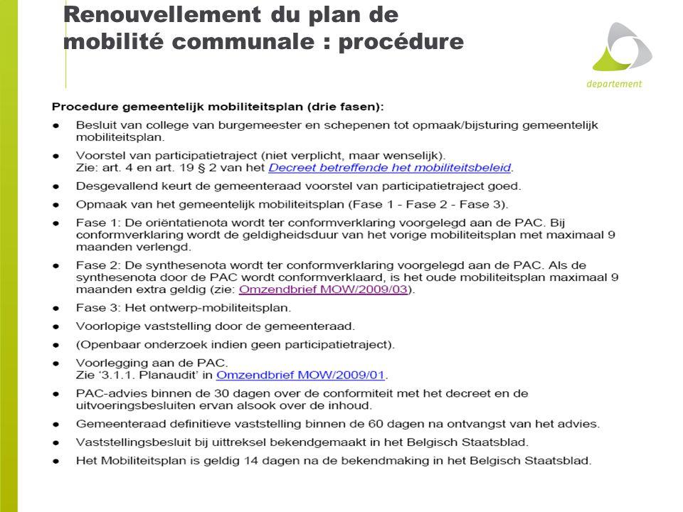 Renouvellement du plan de mobilité communale : procédure