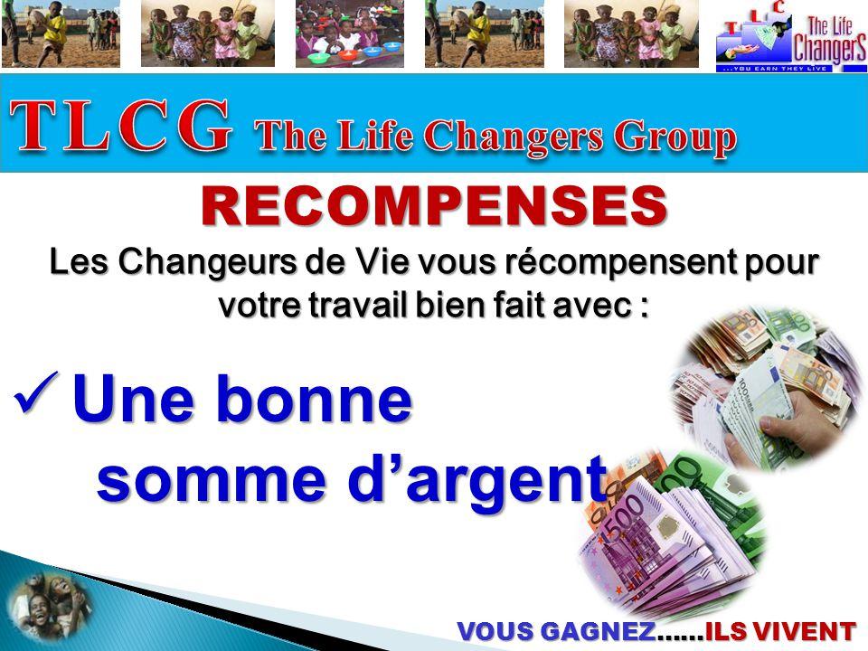 RECOMPENSES Les Changeurs de Vie vous récompensent pour votre travail bien fait avec :  U U U Une bonne somme d'argent