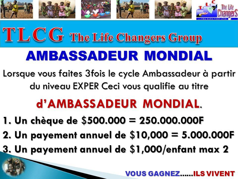 VOUS GAGNEZ……ILS VIVENT AMBASSADEUR MONDIAL 1.Un chèque de $500.000 = 250.000.000F 2.