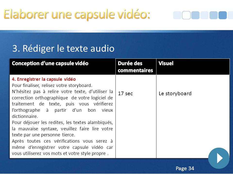 Page 33 3. Rédiger le texte audio