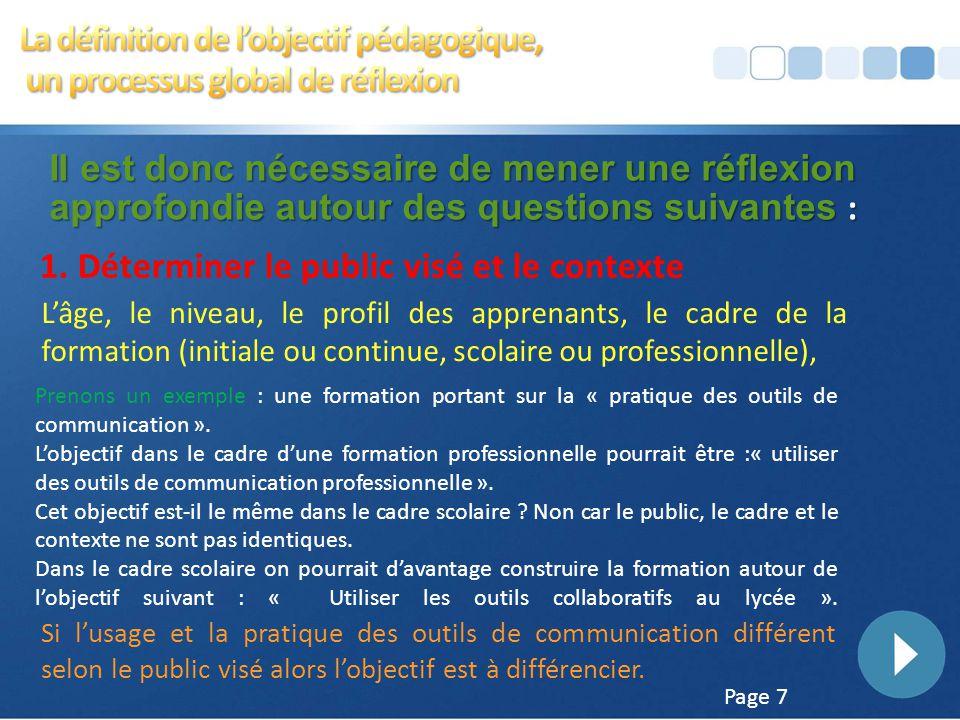 Page 6 Il est donc nécessaire de mener une réflexion approfondie autour des questions suivantes : Quel est le public visé ? Professionnel ou scolaire